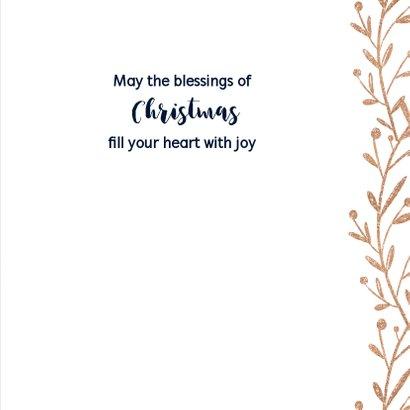 Kerstkaart donkerblauw krans met aanpasbare tekst 3