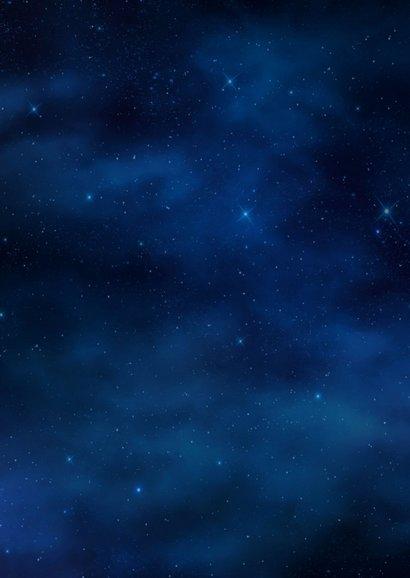 Kerstkaart donkere sterrenhemel hexagon fotocollage goud 2