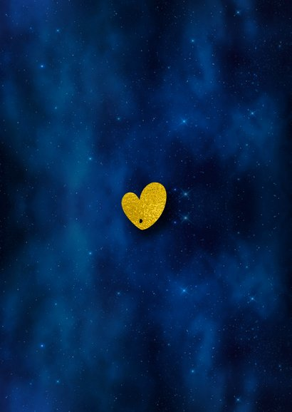 Kerstkaart donkere sterrenhemel hexagon fotocollage goud Achterkant