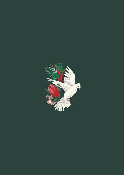 Kerstkaart duiven en bloemen 2