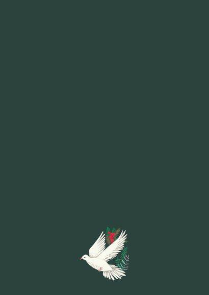 Kerstkaart duiven en bloemen Achterkant