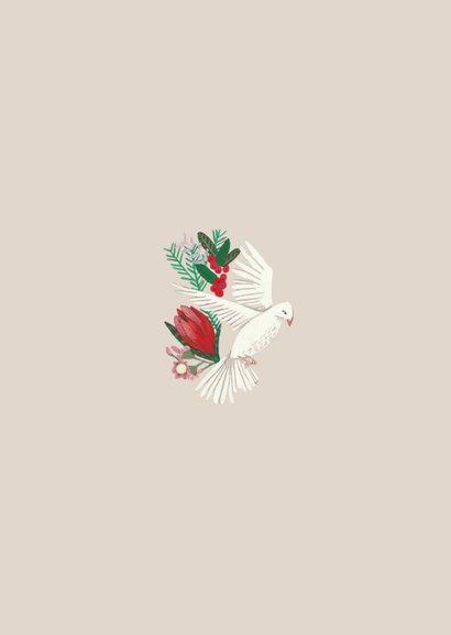 Kerstkaart duiven en botanisch bloemen 2