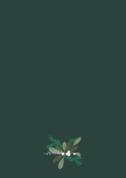 Kerstkaart duiven en botanisch bloemen Achterkant