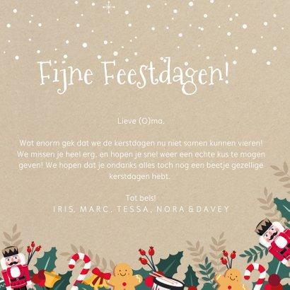 Kerstkaart een papieren kerstkus door de brievenbus - corona 3