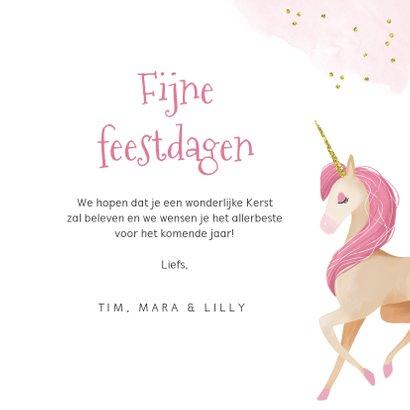 Kerstkaart eenhoorn unicorn waterverf goud roze 3