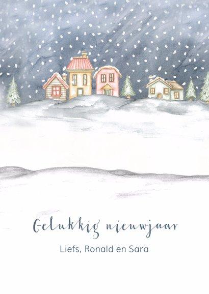 Kerstkaart engel in sneeuwlandschap 3