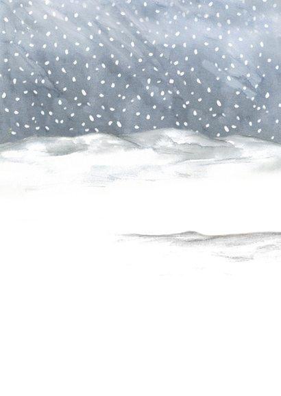 Kerstkaart engel in sneeuwlandschap Achterkant