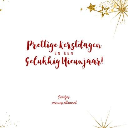 Kerstkaart feestelijke rode kaart goud sterren en tekst 2020 3