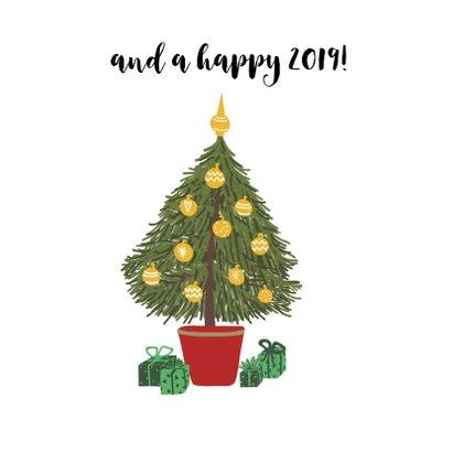 Kerstkaart Fiets met Kerstboom achterop 2