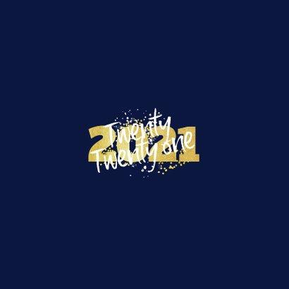 Kerstkaart fijne feestdagen 2021 nieuwjaar goud confetti Achterkant
