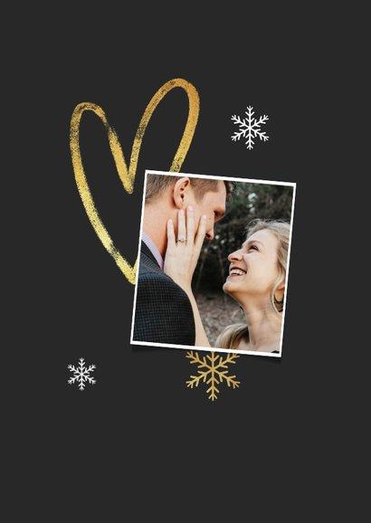 Kerstkaart fijne feestdagen sneeuwvlokken goud foto hart 2