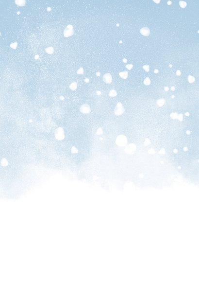 Kerstkaart fijne kerst met waterverf sneeuw en 2 foto's Achterkant