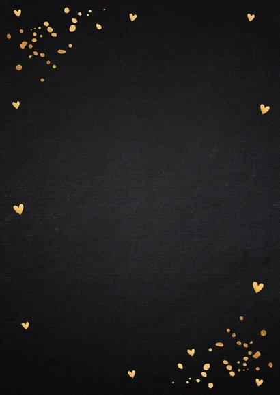 Kerstkaart foto confetti goudlook Achterkant