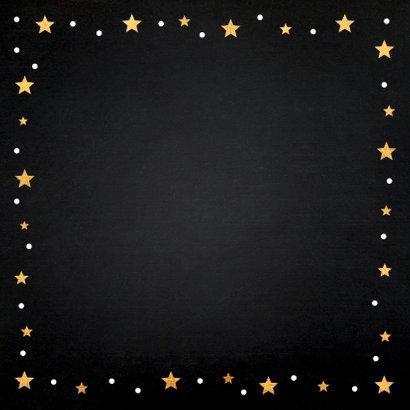 Kerstkaart foto confetti sterren goudlook Achterkant