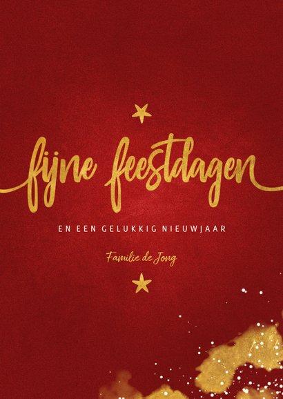 Kerstkaart foto Fijne Feestdagen rood met goud 3