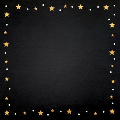 Kerstkaart foto gouden confetti vierkant 2