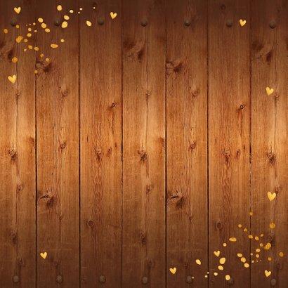 Kerstkaart foto hout kerstkrans confetti goud 2