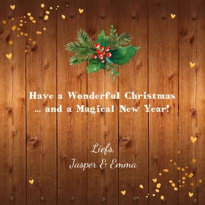 Kerstkaart foto hout kerstkrans confetti goud 3