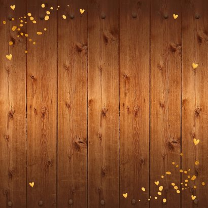 Kerstkaart foto hout kerstkrans confetti goudlook Achterkant