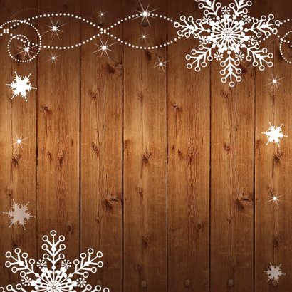 Kerstkaart foto houtprint donker Achterkant