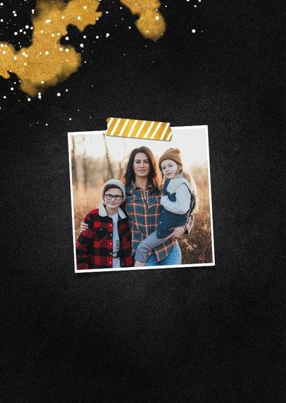 Kerstkaart foto Merry Christmas krijtbord met goud 2