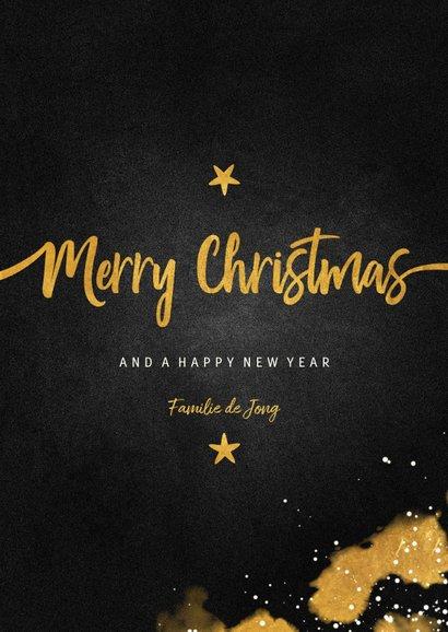 Kerstkaart foto Merry Christmas krijtbord met goud 3