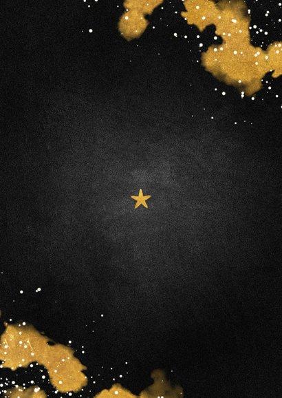 Kerstkaart foto Merry Christmas krijtbord met goud Achterkant