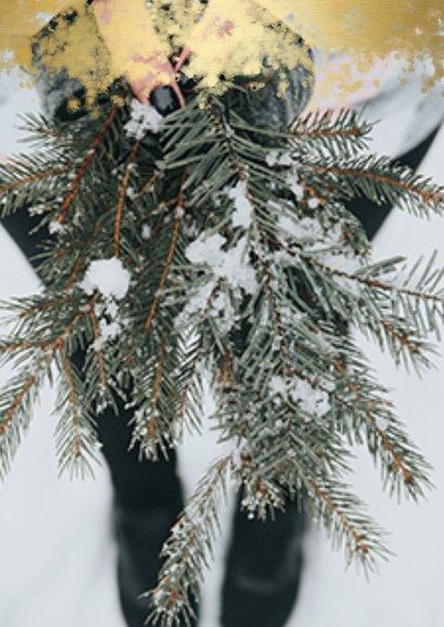 Kerstkaart foto met gouden randje en 'Merry Christmas' 2