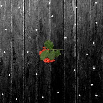 Kerstkaart foto op hout 2021 Achterkant