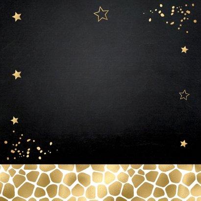 Kerstkaart foto panterprint sterren confetti goudlook 2