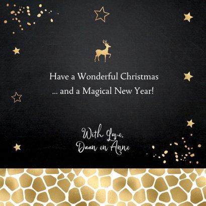 Kerstkaart foto panterprint sterren confetti goudlook 3