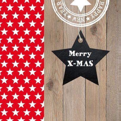 Kerstkaart foto sterren rood hout 2