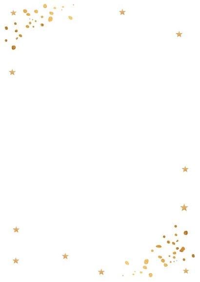 Kerstkaart foto wit en gouden confetti 2