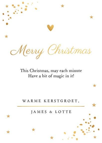 Kerstkaart foto wit en gouden confetti 3