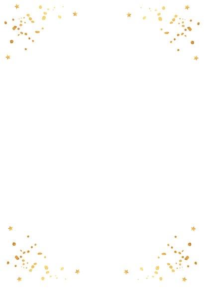 Kerstkaart foto wit goudlook confetti Achterkant