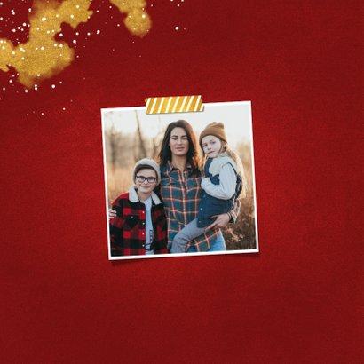 Kerstkaart fotocollage Fijne Feestdagen rood met goud 2