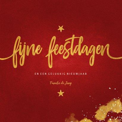 Kerstkaart fotocollage Fijne Feestdagen rood met goud 3