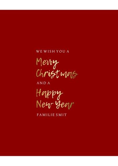 Kerstkaart fotocollage gouden tekst aanpasbare kleur 3