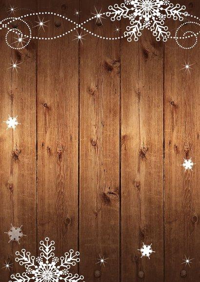 Kerstkaart fotocollage hout sneeuwvlokken 2