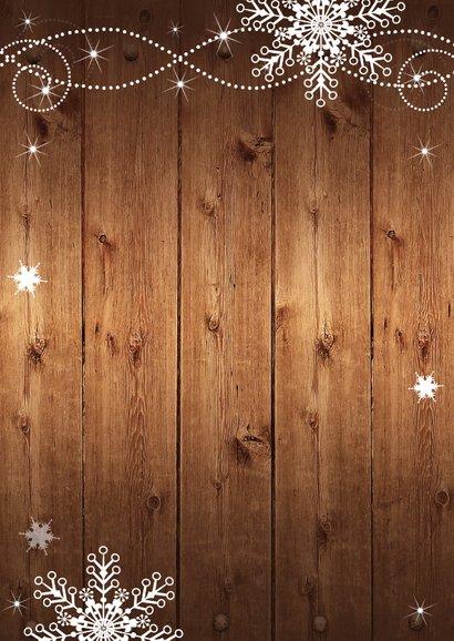 Kerstkaart fotocollage hout sneeuwvlokken Achterkant