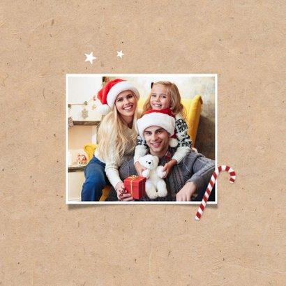 Kerstkaart fotocollage kraft fijne feestdagen zuurstokjes 2