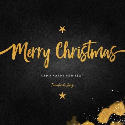 Kerstkaart fotocollage Merry Christmas krijtbord met goud 3