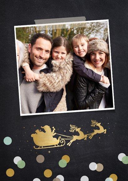 Kerstkaart fotocollage polaroids met 8 foto's en confetti 2