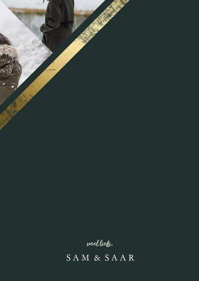 Kerstkaart fotocollage schuin met gouden rand 3