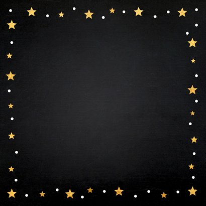 Kerstkaart fotocollage sterren goud krijtbord 2