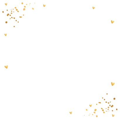 Kerstkaart fotocollage wit goudlook confetti Achterkant