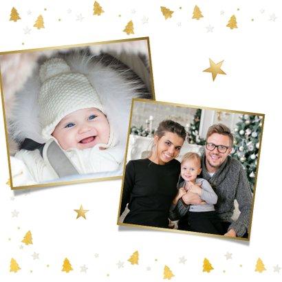 Kerstkaart fotokaart met eigen foto en gouden kerstboompjes 2