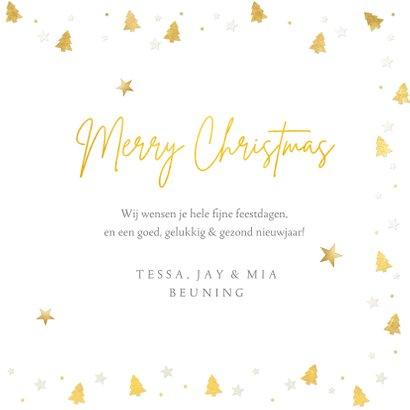 Kerstkaart fotokaart met eigen foto en gouden kerstboompjes 3