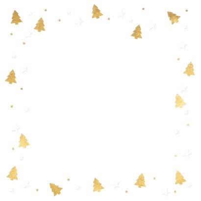 Kerstkaart fotokaart met eigen foto en gouden kerstboompjes Achterkant