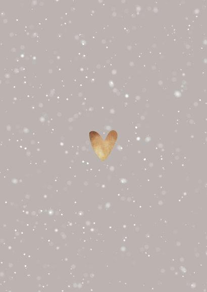 Kerstkaart foto's, sneeuw en hartje van goud Achterkant